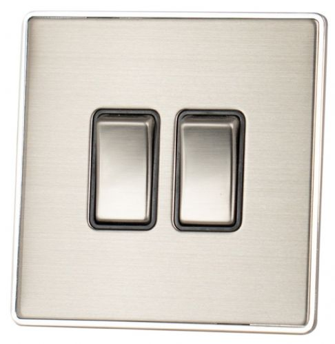 G&H LSS302 Screwless Brushed Steel 2 Gang 1 or 2 Way Rocker Light Switch